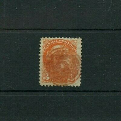 Fancy cancel RED INK on 3c Small Queen  Target? Canada used