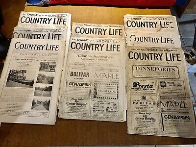 VINTAGE COUNTRY LIFE MAGAZINE x 8, 1935. Jan x2, Feb x2, March, May, June x2.