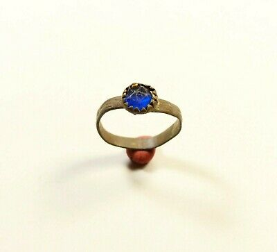 Stunning Post Medieval Bronze Ring With Blue Glass / Stone On Bezel - Wearable