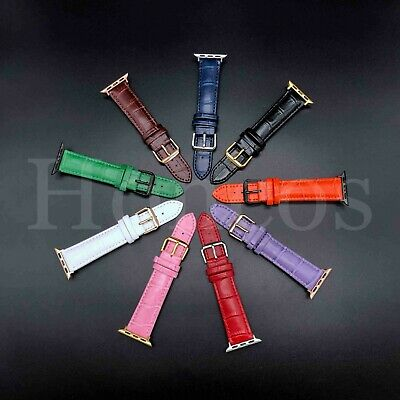 38/40/42/44 MM Apple Watch Band Strap Genuine Leather Iwatch Alligator USA Smart