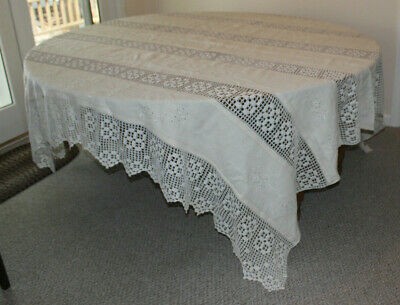 Gorgeous Ecru Linen Embroidered Crocheted Bed Coverlet or Tablecloth 96 x 102