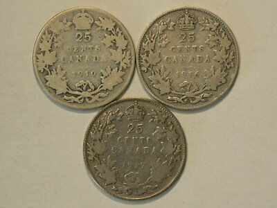 Canada 25 Cents 1910 1916 & 1917 Sterling  Lot Of 3  Silver 92.5%  #G8563
