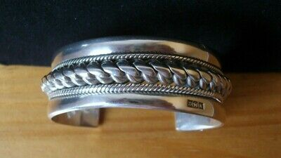 VINTAGE EGYPTIAN HALLMARKED SOLID SILVER CUFF BANGLE WEIGHT 80.9 gms