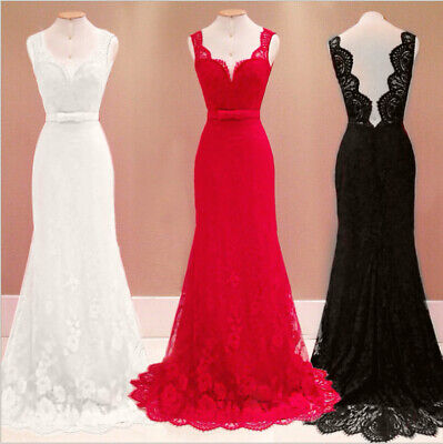 Women Sexy Lace Deep V Neck Backless Floor Length Ball Gown Cocktail Long Dress
