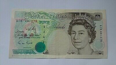 British £5 Five Pound Banknote Gill Signed 1990s Series England A19 low prefix