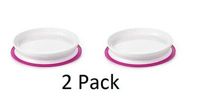 2 Pack OXO Pink Girls Tot Eat Stick & Stay Suction Plate For Babies / Toddlers