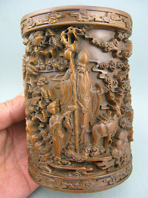 Antique Chinese Old Boxwood Hand-Carved Life star God wealth Stork 福禄寿 Brush Pot