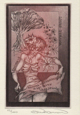 Stijn MOMMEN (B) Exlibris Woman w Flowers Nude Etching C3 signed #62/100