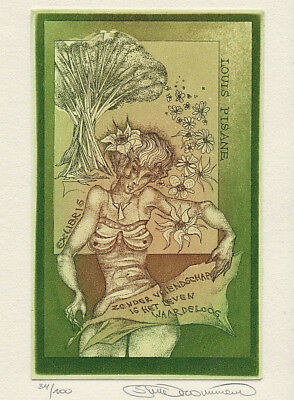 Stijn MOMMEN (B) Exlibris Woman w Flowers Nude Etching C3 signed