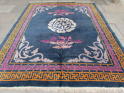 Antique Traditional Hand Made Rug Chinese Oriental Carpet Blue Wool 300x242cm