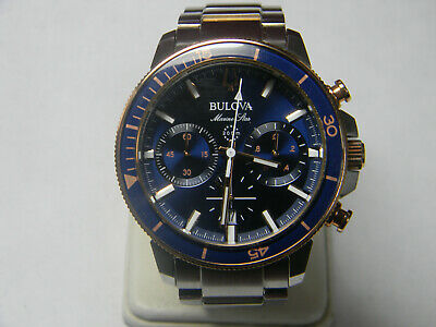Bulova 98B301 Men's Marine Star Two Tone Stainless Steel Blue Dial 45mm Watch