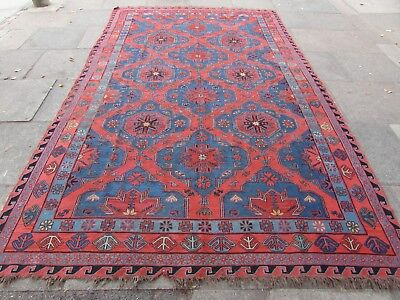 Antique Traditional Hand Made Caucasian Oriental Red Wool Sumac Kilim 360x222cm