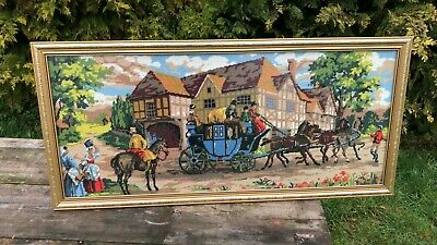 Beautiful Vintage Framed Tappestry Stage Coach & Horses *