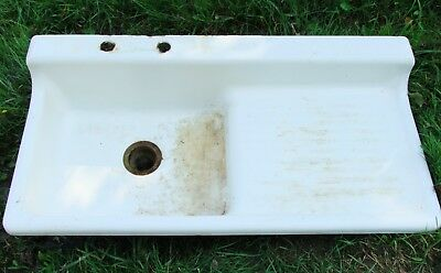 "Vintage 42"" FARMHOUSE KITCHEN SINK, White Porcelain Enamel Cast Iron, Drainboard"
