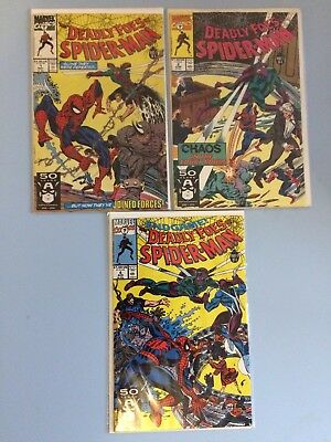 The Deadly Foes of Spider-man # 1, 2 and 4 Marvel Comics VF/NM 1991