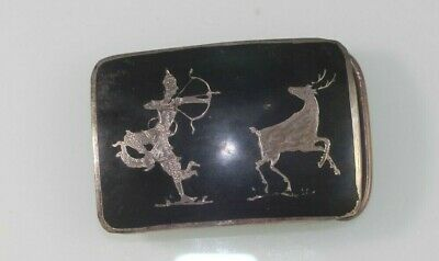 Thai Sterling Silver Hand Made Siam Belt Buckle Hunter and Deer