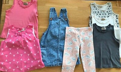 Girls Clothes Bundle Next F&F Summer Age 3-4 Pink Grey Vest Top Tops Dungarees