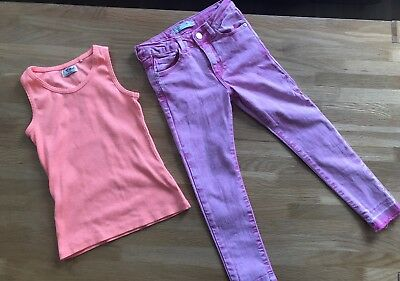 Girls Pink Skinny Jeans And Vest Top Zara And Next Age 6 5-6 Years