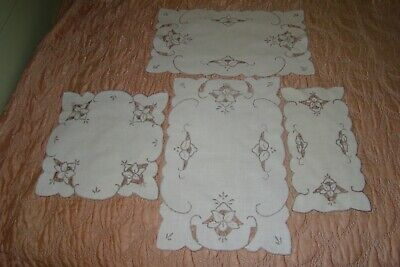 Vintage Lot Of 4 Linen Doilies Mats Taupe Embroidery Cutwork Madeira Type