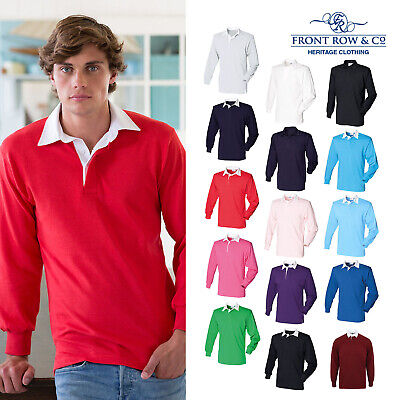 3bbefaf6bf3 Front Row Long Sleeve Traditional Plain Rugby Shirt (FR100)-Casual Cotton  Shirt
