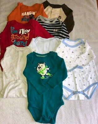 Lot of 8 Baby Boy Infant Long Sleeve Bodysuits/Shirts Size 0-3 Months