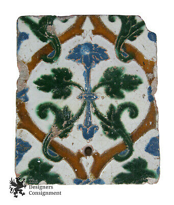 Antique 18th Century Polychrome Ceramic Glazed Wall Tile Architectural Salvage