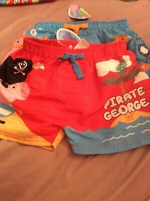 a5f8dfd75b Peppa Pig George swimming Shorts Trunks 18-24 Month Holiday 2 Pairs Red And  Blue