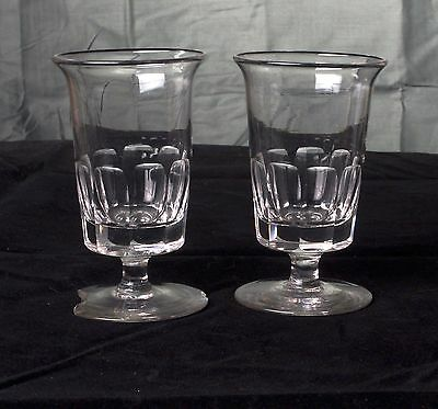 Antique Pair of Early 19th Century Cut Glass Short Stem Rummers