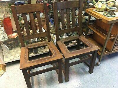 Limbert's Pair (2) Arts Crafts Chairs Fully Signed Mission Oak Early 20th C.