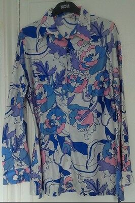 True vintage Haxton 1950/60s size 12 long sleeve floral top