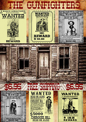 Old West Wanted Posters Outlaw Western Cowboy Bank Ringo Earp Doc Robbery Reward