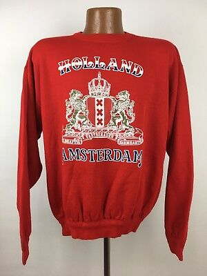 Vintage Holland Amsterdam Coat of Arms Sweatshirt Large Red Soft Acrylic Blend