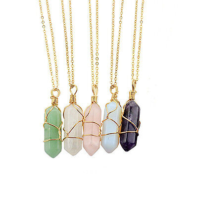 Gemstone Natural Crystal Quartz Healing Point Chakra Stone Pendant ,Necklace PL