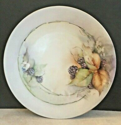 Antique c1900-1914 Limoge France Hand Painted Artist Signed Plate Blackberries++