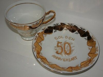 Norcrest Golden 50th Anniversary Teacup Saucer C-247 - 24k Gold accents