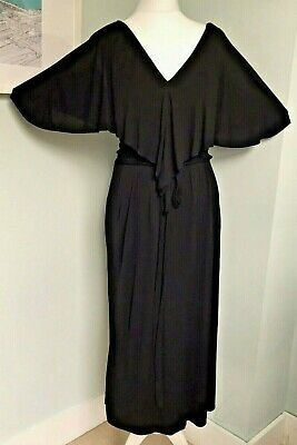 CARYNE French Vtg Black Midi Dress Sz 8 Cape Style Collar Pockets Wrap Effect