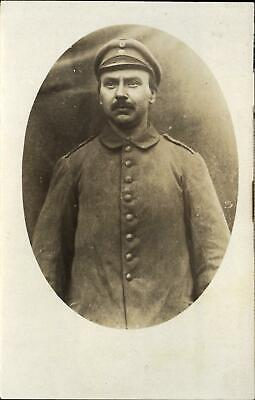 WWI German soldier studio portrait name ~ W RUTER ~Bispingen~ RPPC real photo