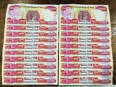 Half Million Iraqi Dinar-20 Lightly Circulated-25,000 Iqd Banknotes-Authentic!!
