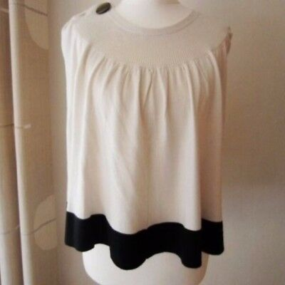 Quality stunning womens' jeccica wool top / cloak black & white size P
