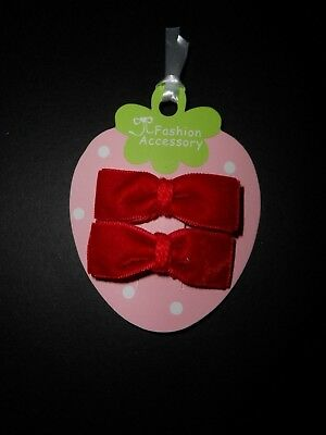 girls/ baby mini hair clips, hair clips hair slides snap clips red velvet bows**