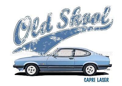 FORD CAPRI LASER t-shirt. OLD SKOOL. CLASSIC CAR. MODIFIED. RETRO.