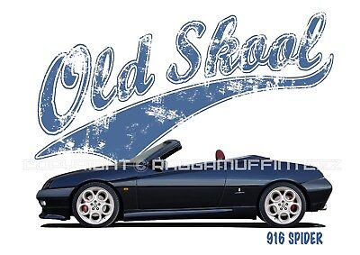 ALFA ROMEO 916 SPIDER t-shirt. OLD SKOOL. CLASSIC CAR. MODIFIED. RETRO.
