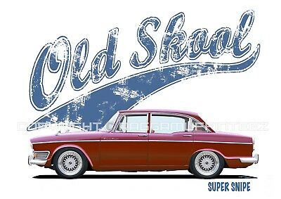 HUMBER SUPER SNIPE S4 t-shirt. OLD SKOOL. CLASSIC CAR. MODIFIED. RETRO.