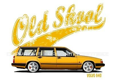 VOLVO 940 ESTATE t-shirt. OLD SKOOL. CLASSIC CAR. MODIFIED. RETRO.