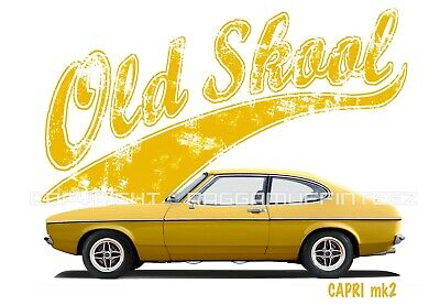 FORD CAPRI MK2 t-shirt. OLD SKOOL. CLASSIC CAR. MODIFIED. RETRO.