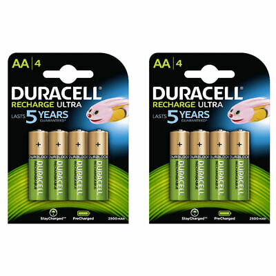 Duracell 8x AA 2500mAh Duralock PRE & STAY CHARGED Rechargeable Ni-Mh Batteries