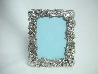 ARTHUR COURT Silver Plate Bunny Rabbit Flowers Picture Frame Easel 4 ¼ x 3 Glass