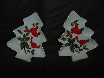 Vintage Christmas Candy Dishes ~ Lefton China ~ Tree Shaped ~ Cardinals ~ #04540