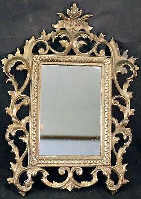 Vintage Cast Iron Metal Ornate Mirror or Use 4 Photo Frame Antique Brass Finish