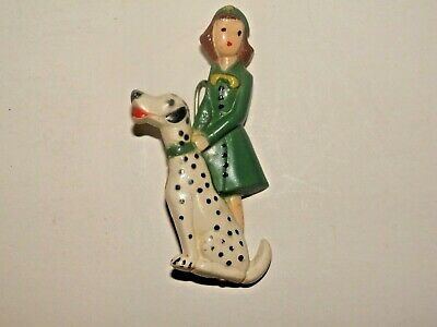 1948-1951 Figural Girl Scout Pin Of Girl With Dalmation Dog Rare(?)